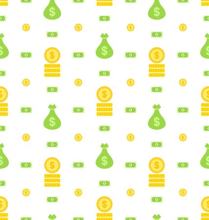 Illustration Seamless Pattern with Money Bag, Bank Notes, Coins, Flat Finance Icons - Vector Vector