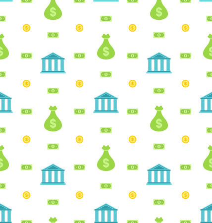Illustration Seamless Pattern with Bank Institution, Bank Notes, Business Background - Vector Vector