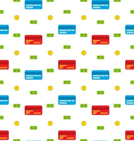 bank notes: Illustration Seamless Pattern with Credit cards, Bank Notes, Coins, Flat Finance Icons - Vector Illustration