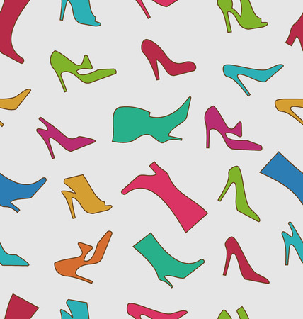 Illustration Seamless Pattern with Colorful Women Footwear - Vector Vector