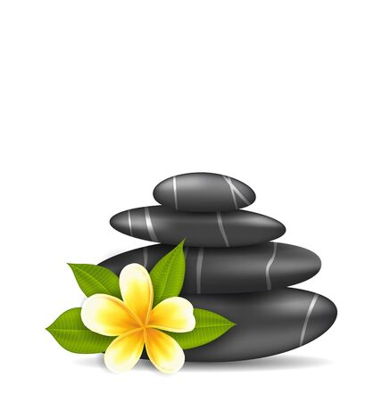stacked stones: Illustration Frangipani Flower (plumeria) and Pyramid Zen Spa Stones, Isolated on White Background - Vector