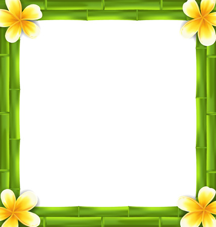 bamboo stick: Illustration Natural Frame Made Bamboo and Frangipani Flowers, Copy Space for Your Text - Vector
