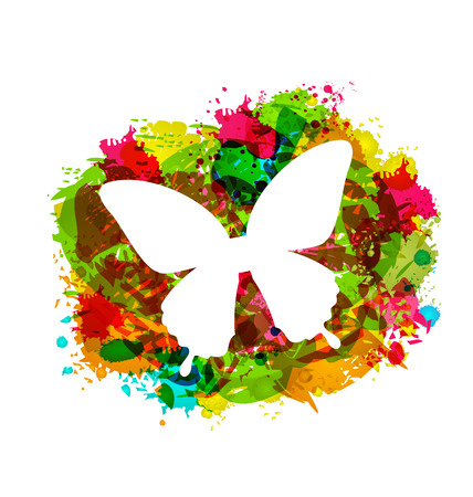 Illustration Simple White Butterfly on Colorful Grunge Damage Frame - Vector illustration