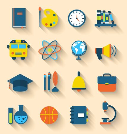 Illustration Set of Education Flat Colorful Icons with Long Shadow Style - Vector illustration