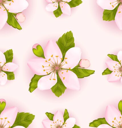 Illustration Seamless Pattern with Cherry Flowers, Repeating Romantic Backdrop - Vector