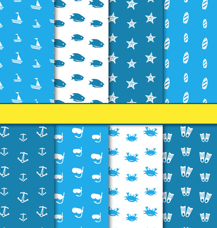 surfboard: Illustration Set Seamless Pattern with Nautical Elements (Sailboats, Fishes, Starfishes, Surfboards, Anchors, Diving Masks, Crabs, Flippers), Blue and White Colors - Vector Stock Photo