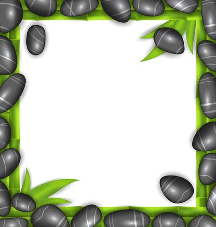 handful: Illustration Frame Made Stones and Bamboo, Spa Background, Copy Space for Your Text - Vector
