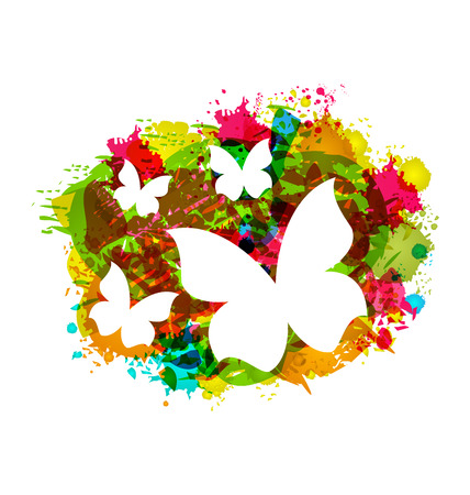 Illustration White Butterflies on Colorful Grunge Texture - Vector illustration