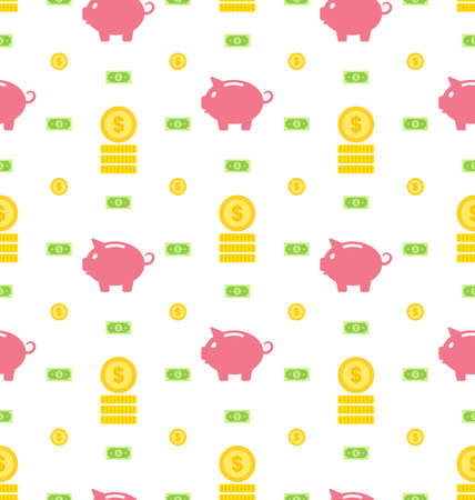 Illustration Seamless Pattern with Moneybox, Bank Notes, Coins, Flat Finance Icons - Vector illustration