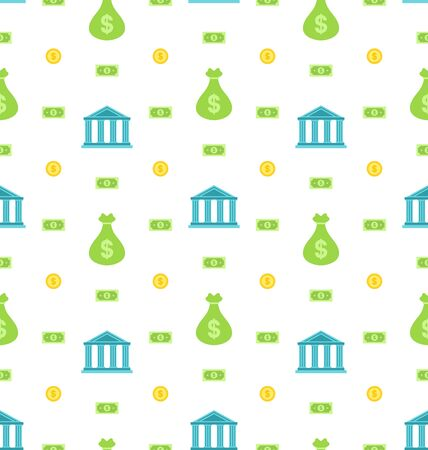 Illustration Seamless Pattern with Bank Institution, Bank Notes, Business Background - Vector