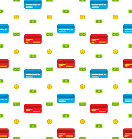 bank notes: Illustration Seamless Pattern with Credit cards, Bank Notes, Coins, Flat Finance Icons - Vector Stock Photo