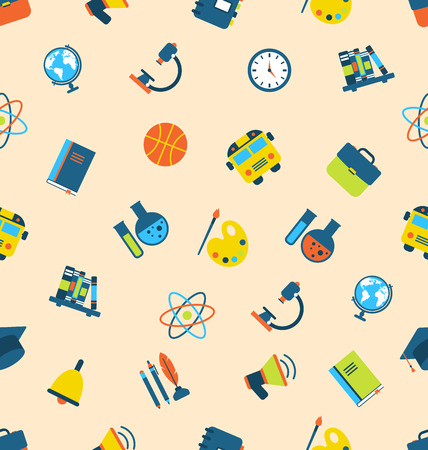 Illustration Seamless Pattern with Icons of Education Subjects, School Background - Vector illustration