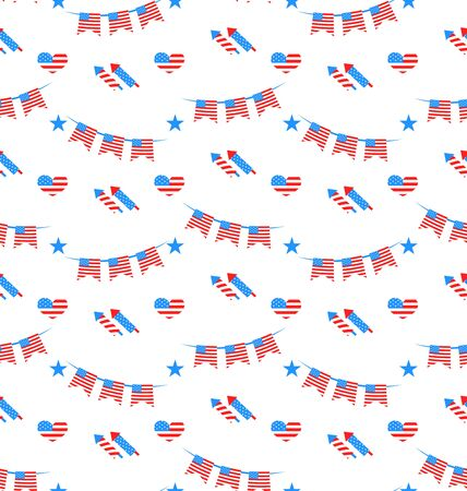 national colors: Illustration American Patriotic Seamless Pattern US National Colors  Vector