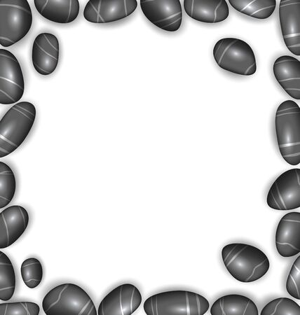 pebbly: Illustration Border Made Sea Pebbles Copy Space for Your Text  Vector