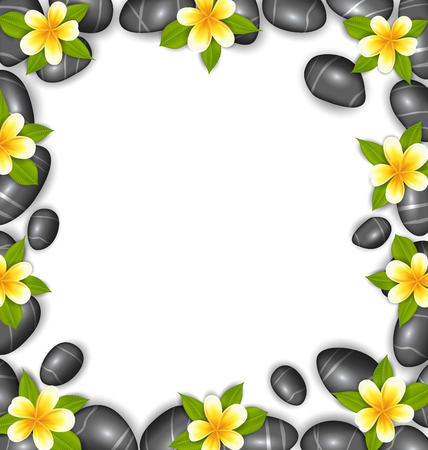 pebbly: Illustration Border Made in Stones and Tropical Beautiful Flowers Copy Space for Your Text  Vector