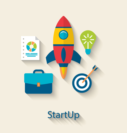 new business: Illustration Concept of New Business Project Startup Development, Flat simple Colorful Icons with Long Shadows Style - Vector
