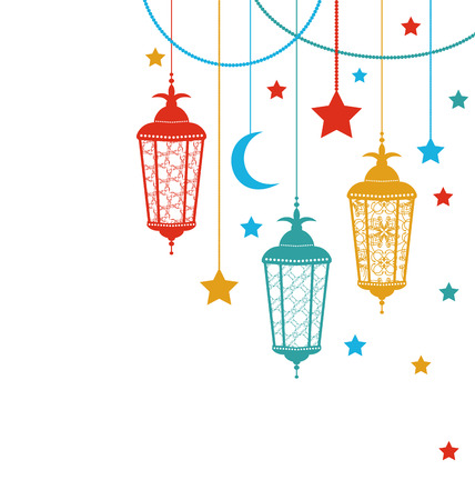Illustration Ramadan Kareem Background with Lamps (Fanoos), Crescents and Stars - Vector