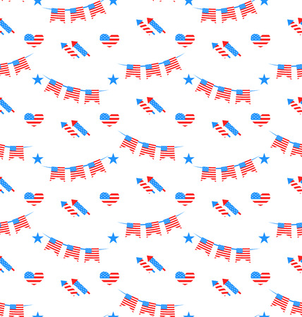 Illustration American Patriotic Seamless Pattern, US National Colors - Vector Vector