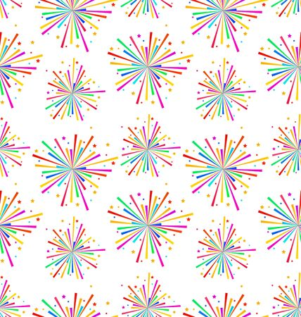 Illustration Seamless Texture with Multicolored Firework for Holiday - Vector Vector