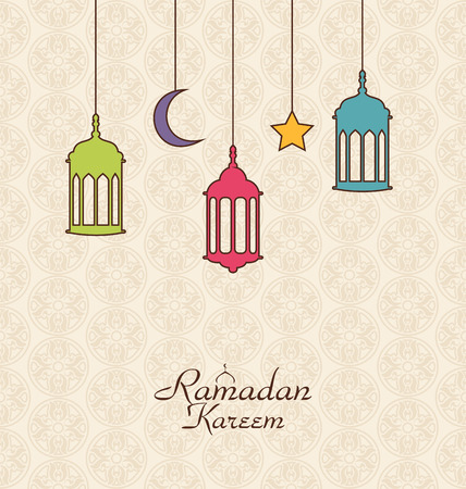 pink lamp: Illustration Celebration Islamic Card with Arabic Hanging Lamps for Ramadan Kareem - Vector