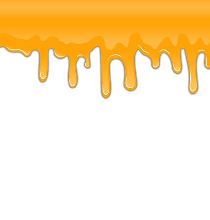 drips: Illustration Texture of Sweet Honey Drips on White Background - Vector