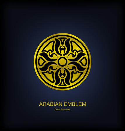 Illustration Golden Emblem with Arabian Traditional Ornament. Islam, Arabic, Asian motifs - Vector Vector