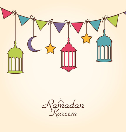 Illustration Celebration Card for Ramadan Kareem with Colorful Hanging Lamps and Bunting - Vector Vectores