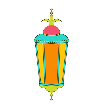 lamp outline: Illustration Arabic Colorful Lamp Isolated on White Background for Ramadan Kareem Outline Style  raster Stock Photo