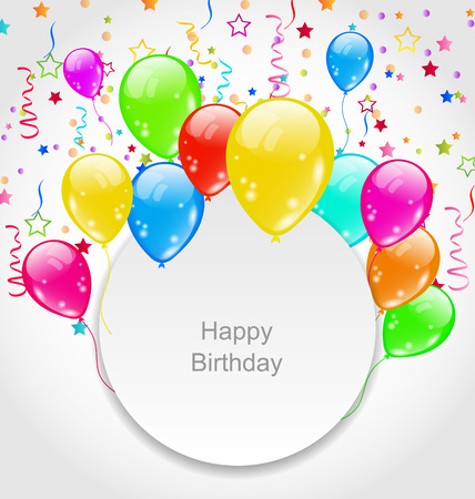 balloons party: Illustration Happy Birthday Card with Set Balloons and Confetti  raster