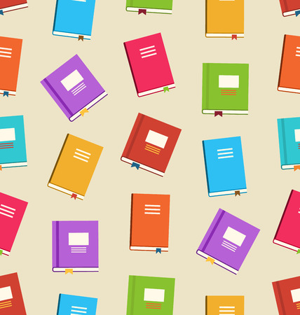 yearbook: Illustration Seamless Pattern of Books for Education Colorful Flat Icons of Textbooks  raster