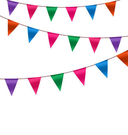 Illustration Set Colorful Buntings Flags Garlands for Holiday, Copy Space for Your Text - raster illustration