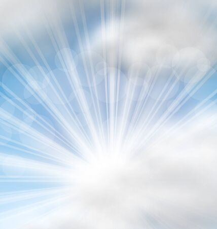 raster: Illustration Cloudscape Background with Sun Rays - raster