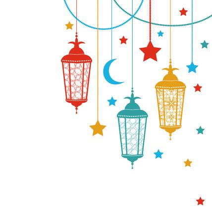 Illustration Ramadan Kareem Background with Lamps Fanoos Crescents and Stars  raster Foto de archivo