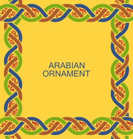 ligature: Illustration Arabian Ligature Border in Traditional Style, Ornamental Frame - raster Stock Photo