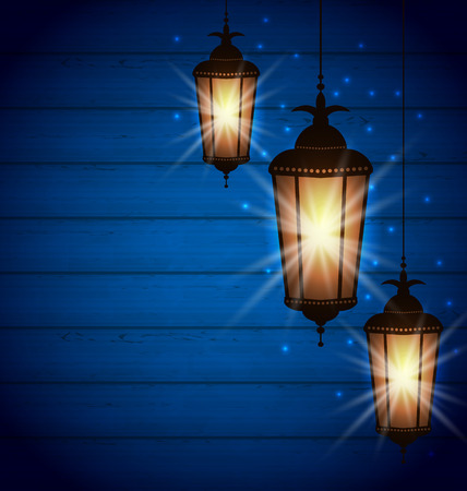 ramzan: Illustration Set Arabic Lamps for Holy Month of Muslim Community, Wooden background - raster