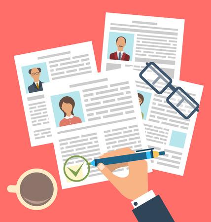 entrevista de trabajo: Ilustración del concepto de Gestión de Recursos Humanos, para encontrar personal profesional, simple de los iconos planos - de trama