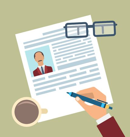 biography: Illustration Concept of Resume Writing, Flat Simple Icons - raster Stock Photo