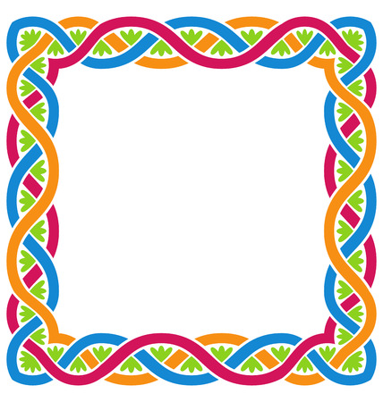 ethnographic: Illustration Abstract Celtic Weaving Framework, Isolated on White Background - raster