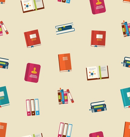 dictionaries: Illustration Seamless Pattern of Colorful TextBooks, Dictionaries, Diaries for Education, Vintage Colorful Flat Icons - raster