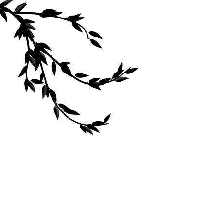 frondage: Illustration Black Silhouette Branch Tree with Leafs Frame for Design isolated on white - raster