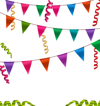 serpentine: Illustration Colorful Buntings Flags Garlands and Serpentine for Your Party - Vector
