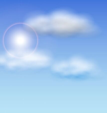 fluffy clouds: Illustration Blue Sky with Sunlight and Fluffy Clouds - raster Stock Photo
