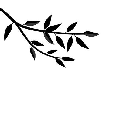 Illustratie Zwarte Silhouet Tak van de Boom met doorbladert Frame voor ontwerp geïsoleerd op wit - vector Stock Illustratie