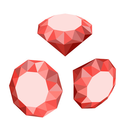faceting: Flat Icon of Set Red Diamond, Different Positions, Three-dimensional Design - vector Illustration