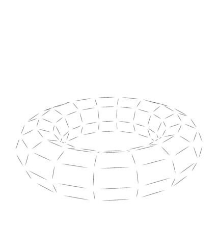 adamant: Wireframe polygonal element 3D Torus Isolated on White Background - vector Illustration