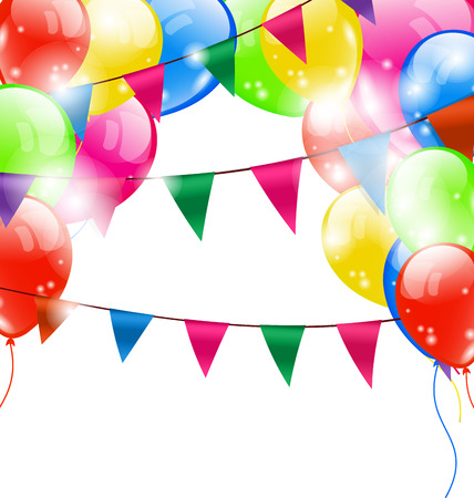 Illustration Funny Background with Balloons and Hanging Buntings Flags Garlands for Holiday - Vector Vector Illustration