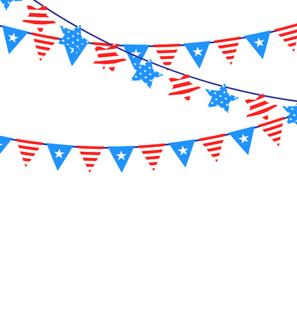independent day: Hanging Bunting Garlands in National American Independent Day - vector Illustration