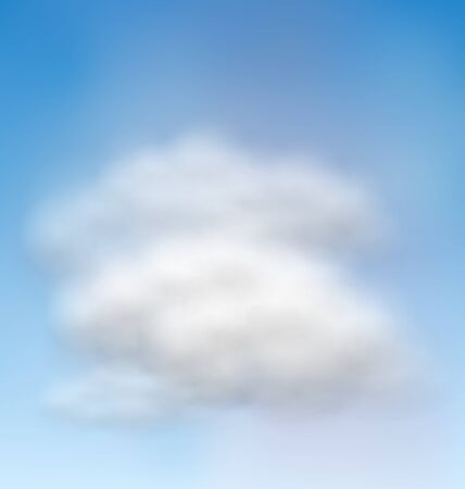 meteorology: Illustration Background Blue Sky Fluffy Clouds - vector Illustration