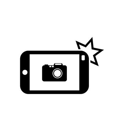 Illustratie Icoon van Smart phone voor Photo selfie, geïsoleerd op witte achtergrond - Vector