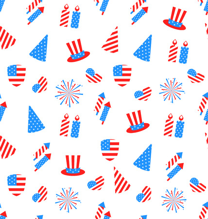 national colors: Illustration Seamless Texture Holiday Objects for Independence Day of America, US National Colors - Vector